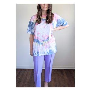 Vtg 90s Cotton Candy Tie Dye Hippy Boho Soft Tee L